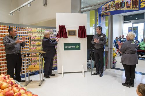 From left to right, Countdown Group Manager Craig Unsworth, Marlborough Mayor Alistair Sowman, Store Manager David Smale and Office Supervisor Wendy Moffat