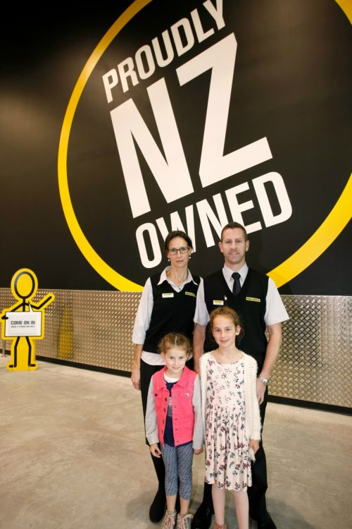Owner Jon Morrison with his wife Anita, Caitlin (5) and Stella (7)