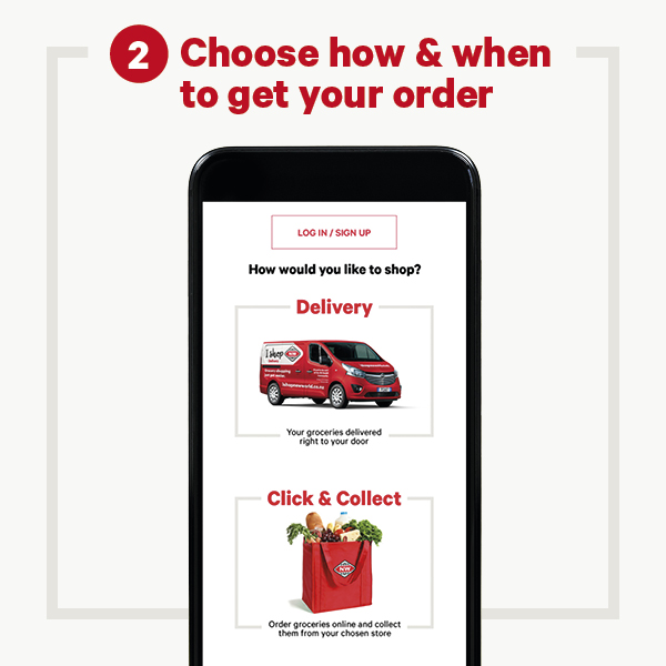 Choose delivery or collect screen