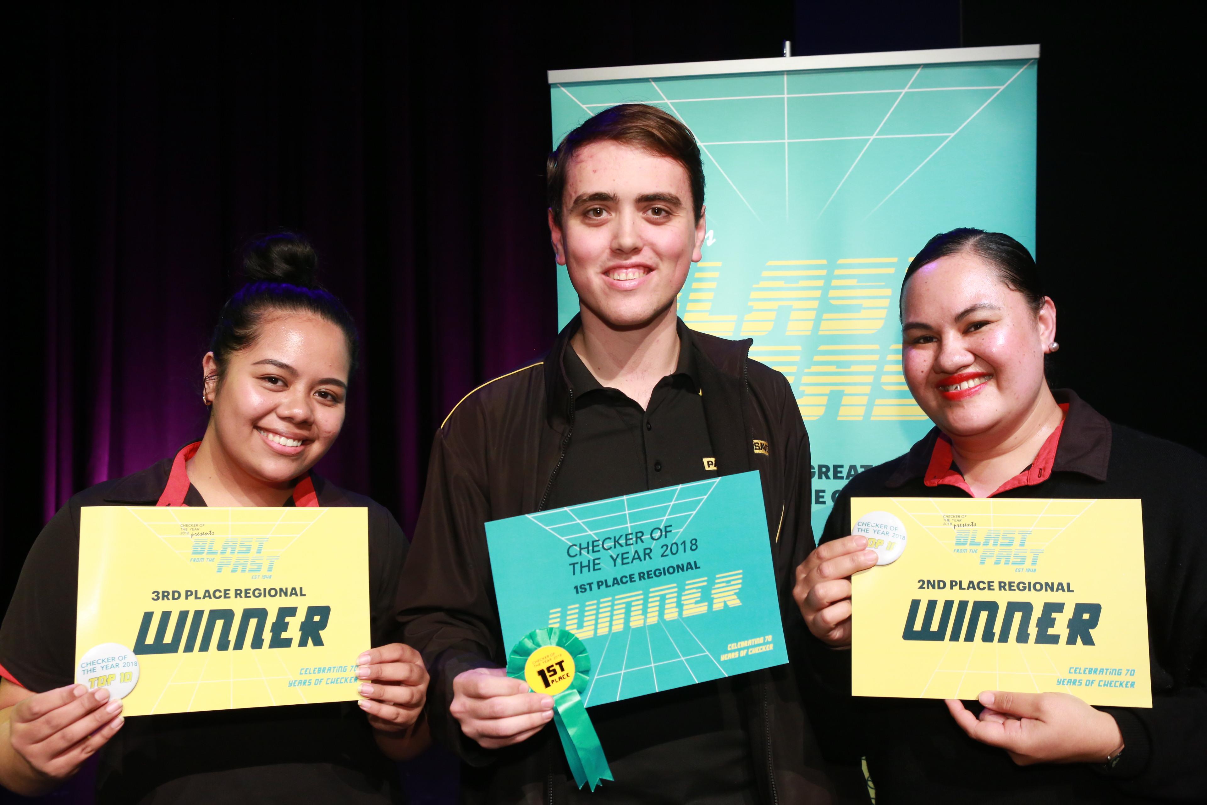 Auckland Central winners- From left Blessing Taulagi, Reuben Jamieson-Soper, Maryanne Faleta