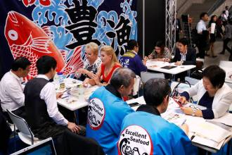 "A meeting takes place at the ""Japan's Food"" Export Fair"