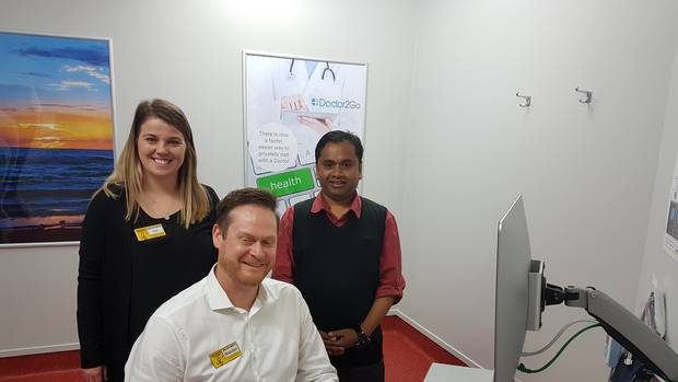 Pak'nSave Hastings owner-operator Brendon Smith (seated) with HR manager Kim Smith and Doctor2Go medical director Terence De Silva. Photo / Andrew Ashton.