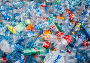 plastic bottles in a pile