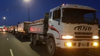 rnb transport trucks hold protest against fuel excise tax