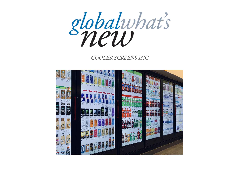 product display screens on refrigerator/cooler/freezer doors