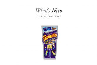 What's New text featuring Cadbury Favourites with chocolate fish in sardine-tin inspired packaging