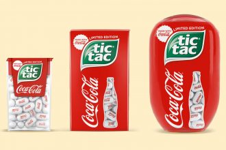Coca-Cola Tic Tac in three sizes with red packaging and coke bottle