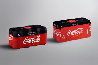 Coca-Cola six and eight packs with plastic shrink wrap