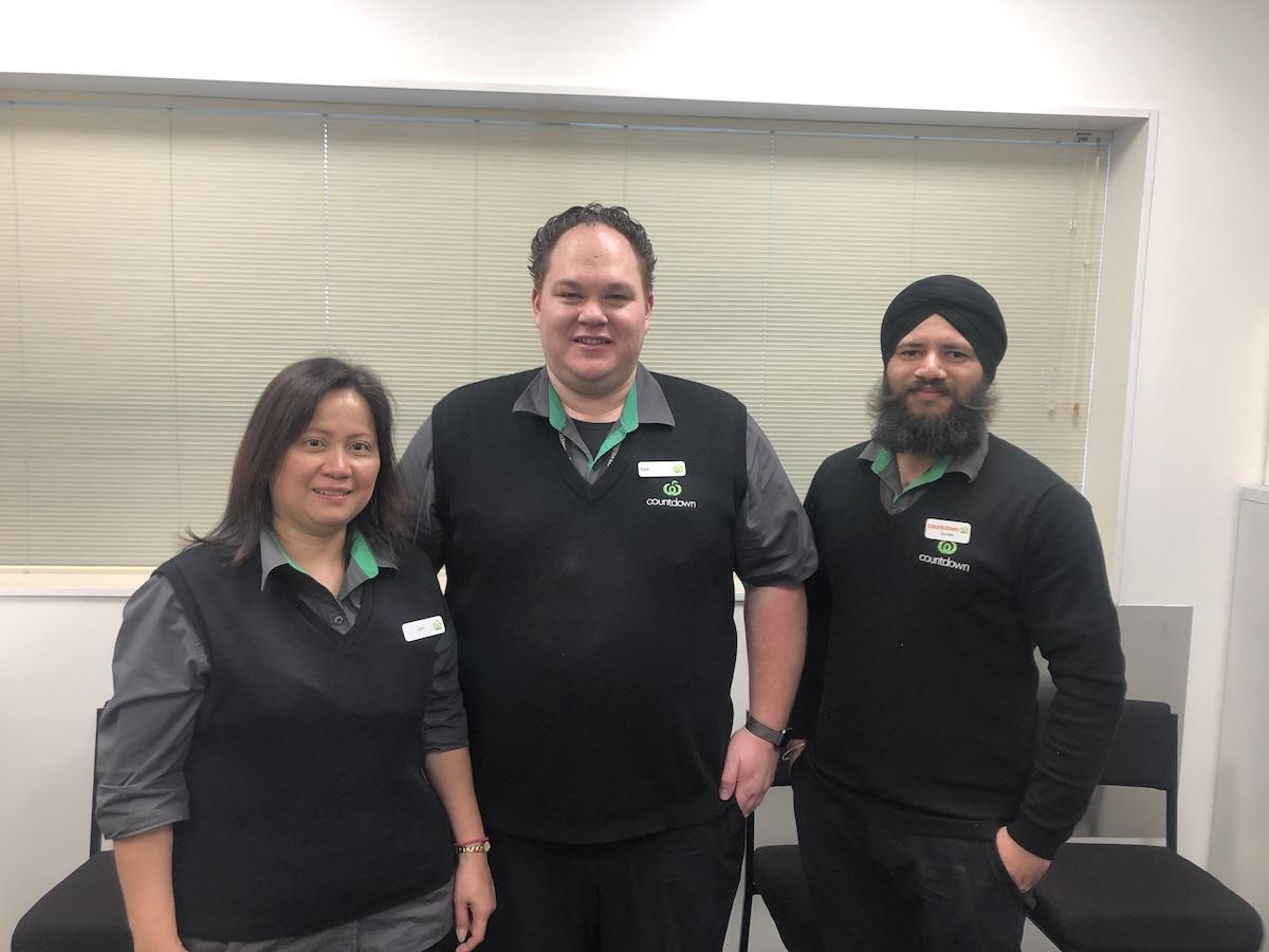 Joy Cristal (Cashier), Kyle Webber (Store Manager) and Gurdev Singh (Assistant Long Life Manager) - Takapuna copy