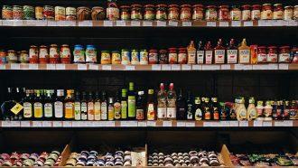 Bottle products on supermarket shelf
