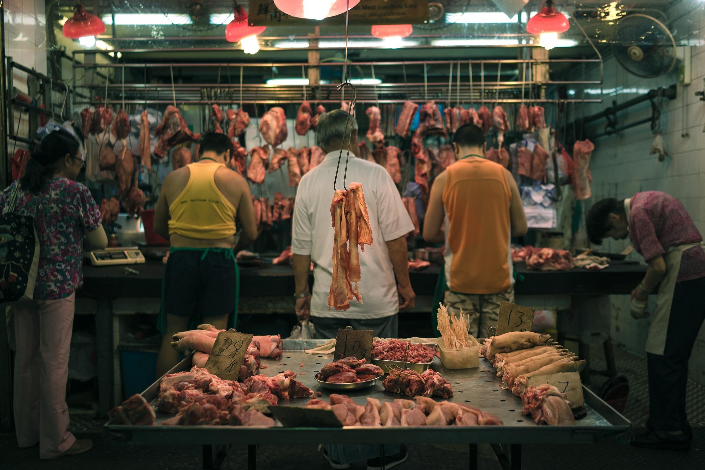 Raw pork in wet market