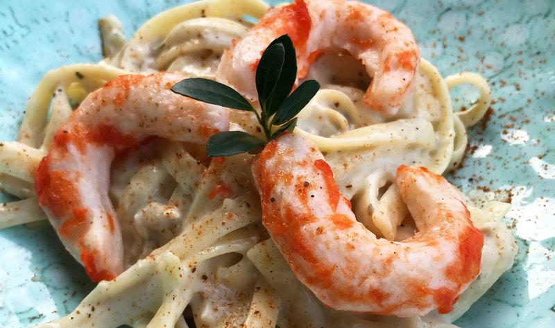 Vegan seafood with pasta in plate