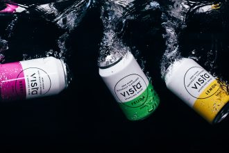 Vista drink cans submerged in water