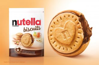 Nutella biscuit pack next to a giant shortbread Nutella biscuit