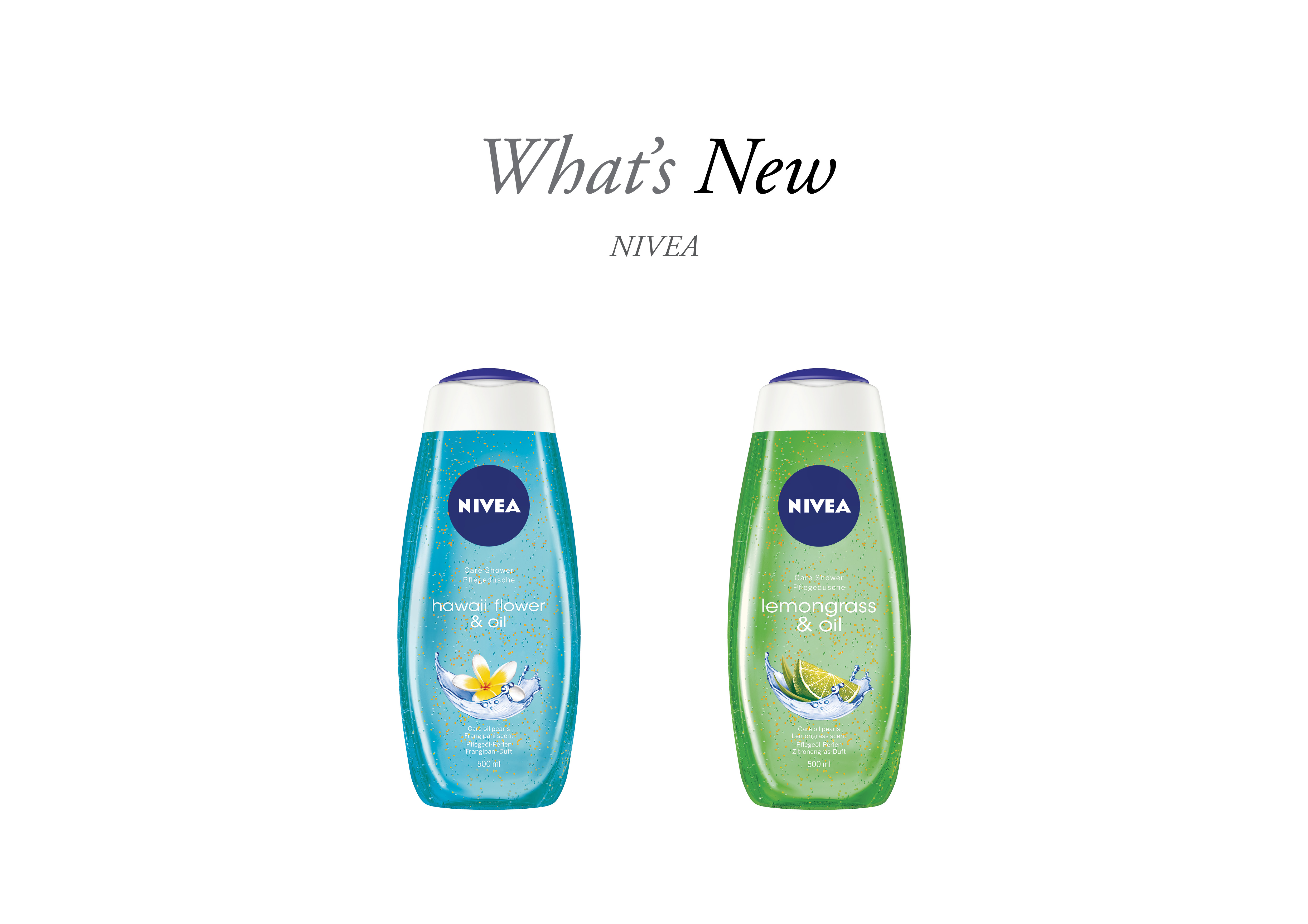 Nivea Shower Gel & Oils with What's New text over head
